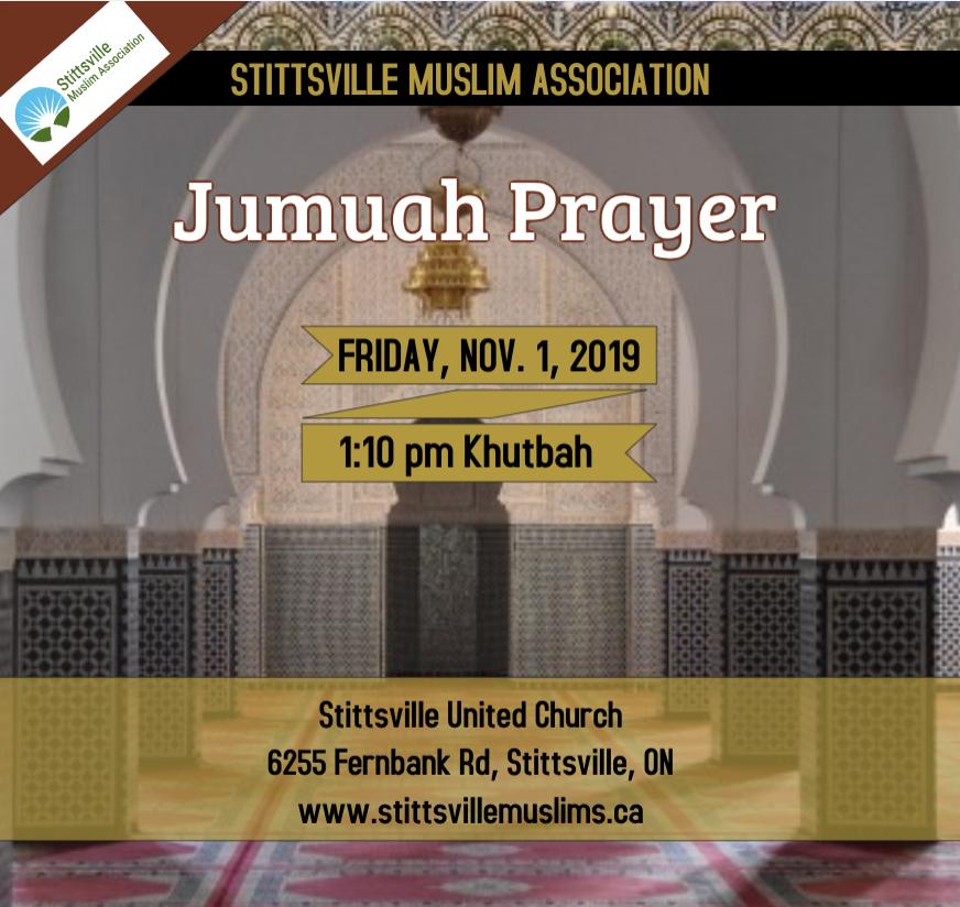 Stittsville Muslim Association Jumuah prayer 1st Nov 2019