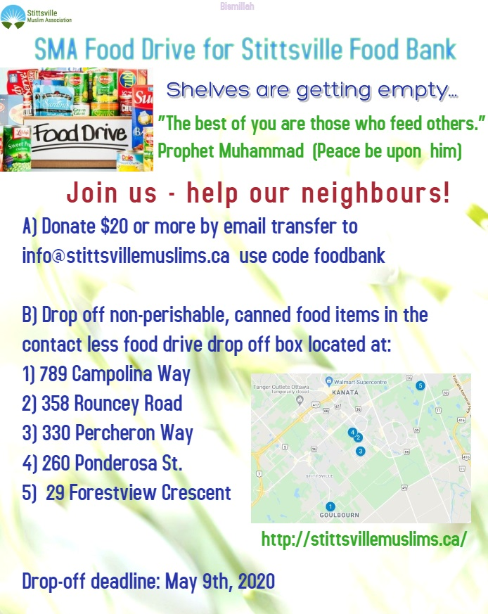 Stittsville Muslims Association_COVID19 food bank drive